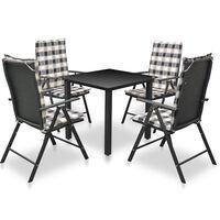 vidaXL Set mobilier de exterior cu perne, 5 piese, negru, aluminiu