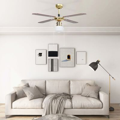 vidaXL Ventilator de tavan cu iluminare, maro, 106 cm
