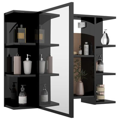 vidaXL Set mobilier baie, 3 piese, negru extralucios, PAL
