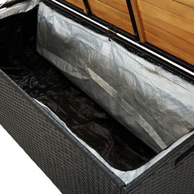 vidaXL Bancă de depozitare pentru grădină, negru, 120 cm, poliratan