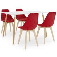 vidaXL Set de masă, 5 piese, roșu
