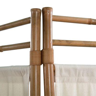 vidaXL Paravan de cameră cu 5 panouri, pliabil, bambus și pânză, 200 cm