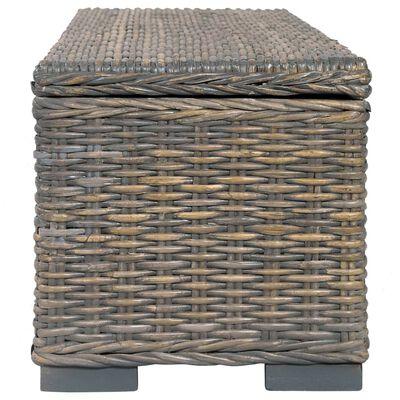vidaXL Ladă de depozitare, gri, 120 cm, ratan kubu și lemn de mango