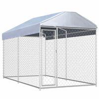 vidaXL Padoc de exterior cu prelată pentru câini, 382x192x225 cm
