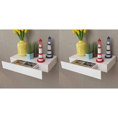vidaXL Rafturi de perete suspendate cu sertare, 2 buc., alb, 48 cm