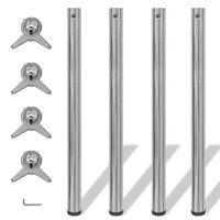 Picioare de masă din nichel șlefuit, înălțime reglabilă, 870 mm, 4 buc