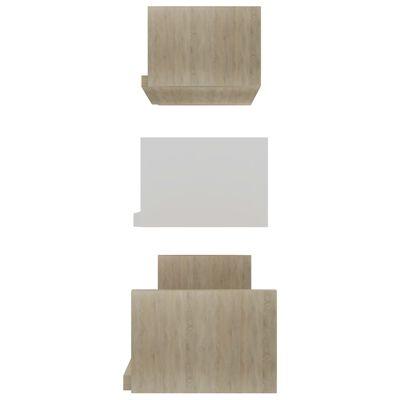 vidaXL Raft expunere de perete, 3 buc., alb și stejar Sonoma, PAL