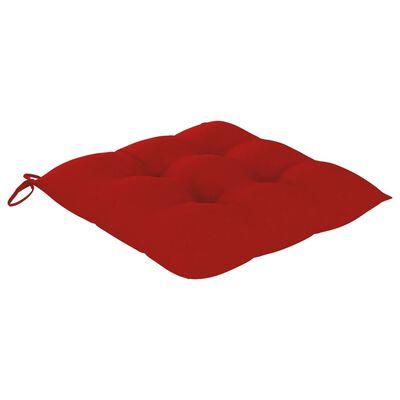 vidaXL Scaune grădină cu perne roșii, 2 buc., lemn masiv tec