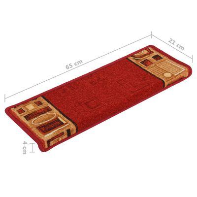 vidaXL Covorașe scări autoadezive, 15 buc., roșu, 65x25 cm