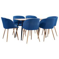 vidaXL Set mobilier de bucătărie, 7 piese, albastru, material textil