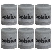 Bolsius Lumânări bloc rustice 6 buc., gri deschis, 80 x 68 mm
