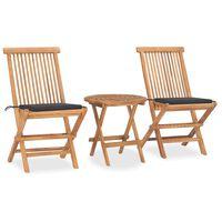 vidaXL Set mobilier de exterior pliabil, cu perne, 3 piese, lemn masiv tec