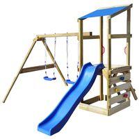 vidaXL Set de joacă din lemn, scară, tobogan și leagăne 290x260x235 cm
