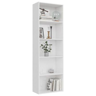 vidaXL Bibliotecă cu 5 rafturi, alb lucios, 60 x 30 x 189 cm, PAL