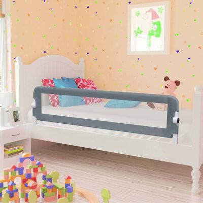 vidaXL Balustradă de protecție pat copii, gri, 150 x 42 cm, poliester