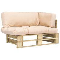 vidaXL Canapea de grădină din paleți, perne nisipii, lemn de pin